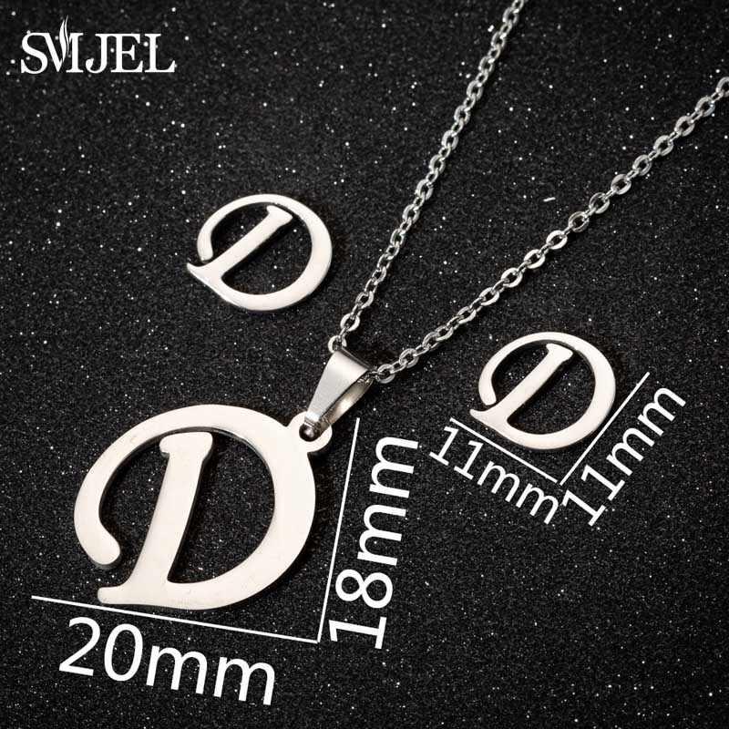 SMJEL Mini Initial Letters Necklace Women Steel Sliver Chain A-Z 26 Words Statement Necklaces Pendants Necklace Collier Femme