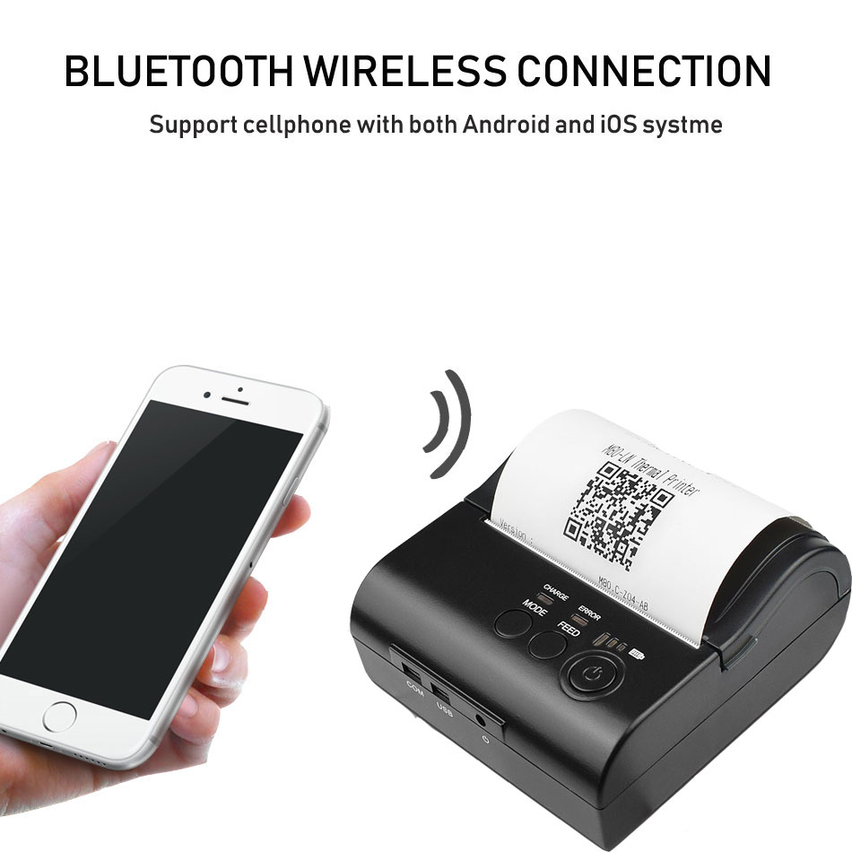 Zjiang-8001 Portable Mini Bluetooth Printer 80mm Wireless Thermal Receipt Printer For Mobile Phone 2000mAh Battery With USB Port