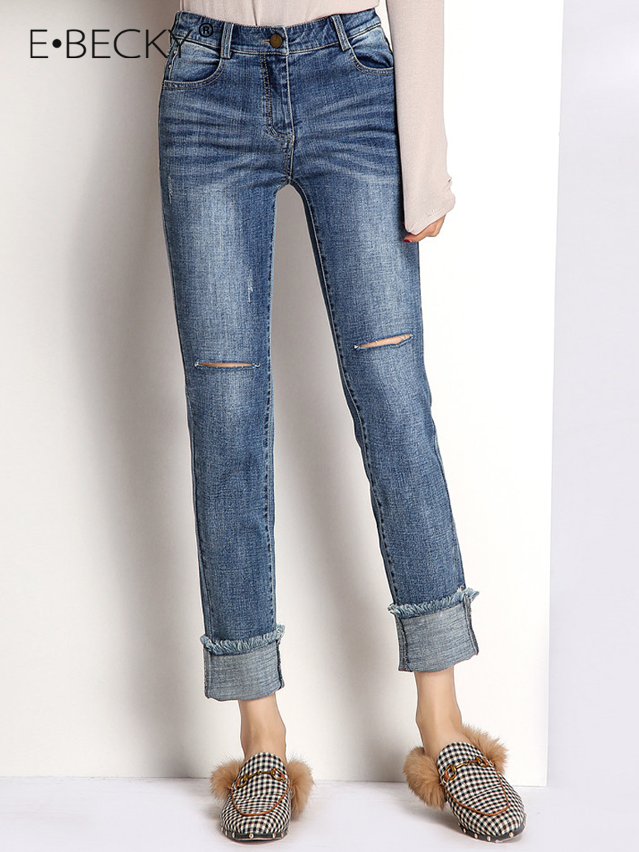 E.BECKY Mid Ripped Jeans for Women Mid waist Skinny Blue Jeans Office Lady Vintage Tassel Pencil Pants Leg Mom Jeans Femme 2019 Price $47.96