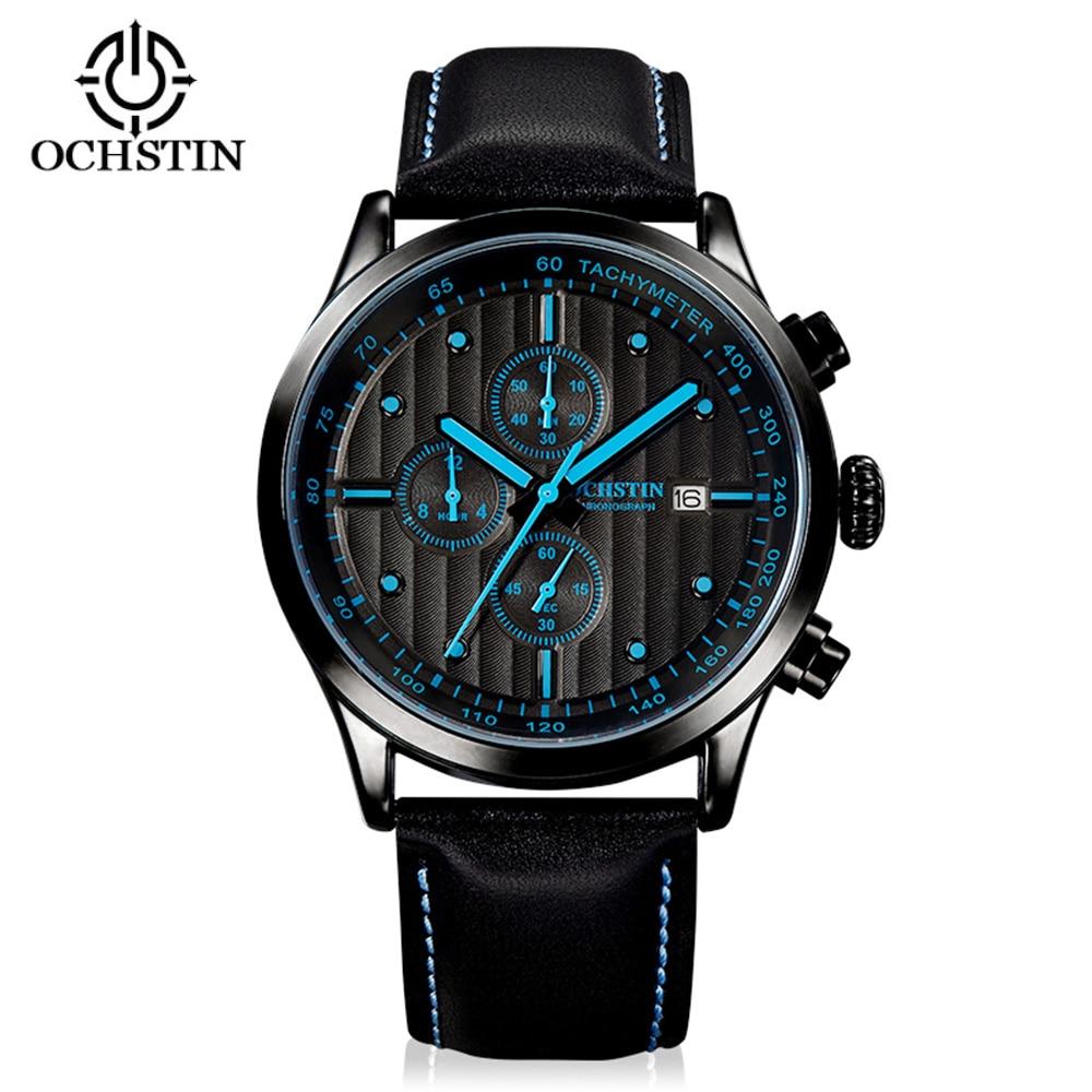 цена на OCHSTIN Luxury Quartz Men Watch Genuine Leather Casual Men's Wristwatch 30M Waterproof Men Calendar Wrist Watches + Watch Box