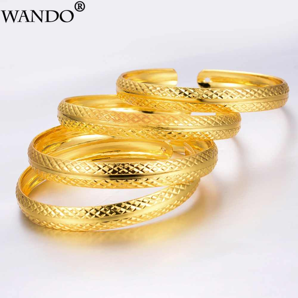 WANDO อินเทรนด์สำหรับผู้หญิง/สาวตะวันออกกลางเครื่องประดับอาหรับ/ดูไบ GOLD สีลวดลายทองแดงสร้อยข้อมือเครื่องประดับของขวัญ b90