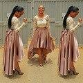 Satén largo Faldas Para Mujer 2016 Más Tamaño 7XL Otoño de La Vendimia alta Cintura del vestido de Bola Asimétrico Sirena Arco Correa Partido Maxi falda