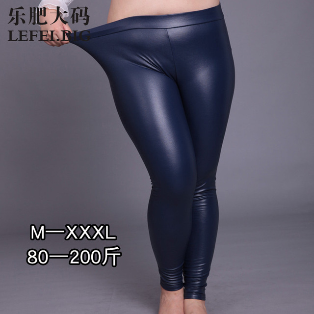 The new PU sanding leather pants add fertilizer increased women's high elastic extension Leggings autumn