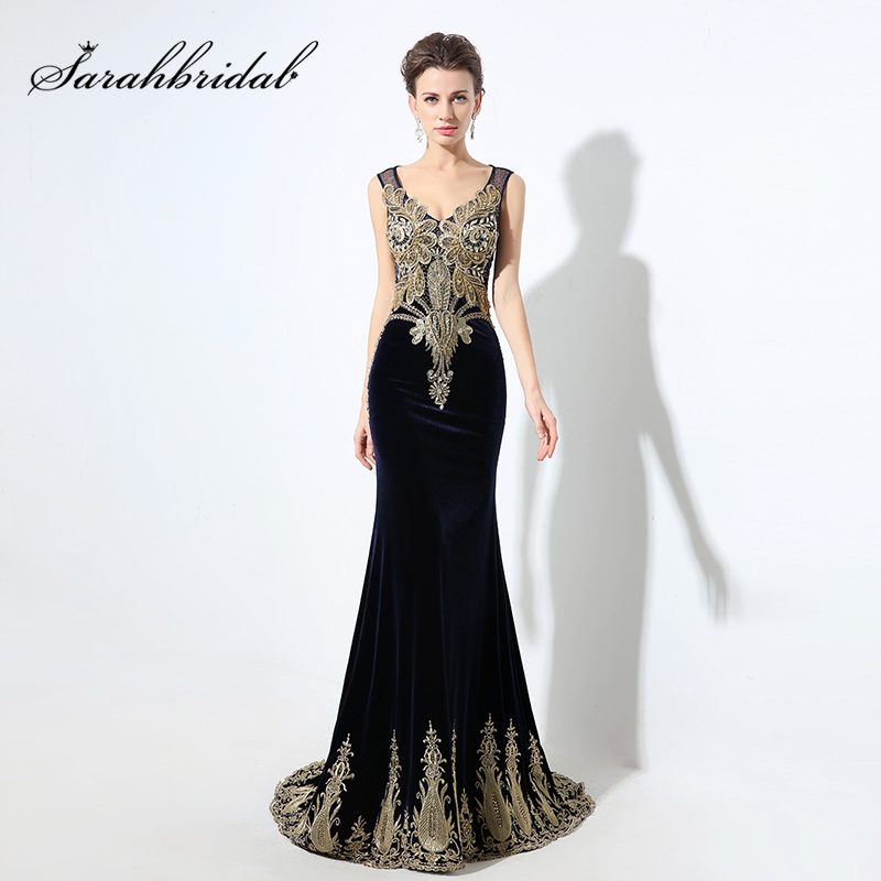 Online Shop Elegant Golden Beading Mermaid Evening Dresses Navy Blue Velvet  2019 Real Picture Crystal Elegant Women Maxi Prom Gowns OL027  924730c6b93d