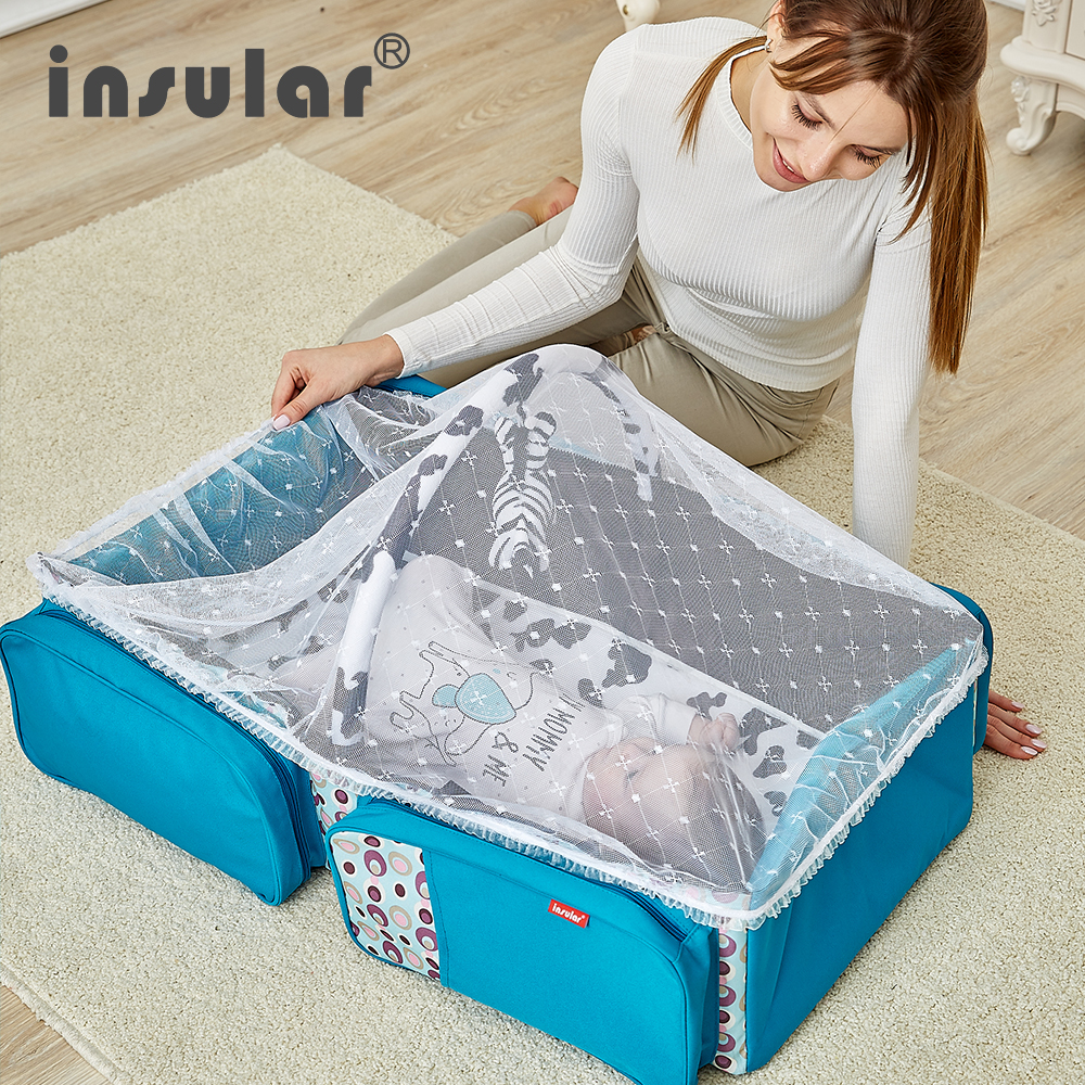 Insular Portable Baby Cribs Multifunction 2 in 1 Diaper Mummy Bag Newborn Safe Travel Folding Baby