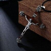 Beier 925 silber sterling Vintage Jesus anhänger Punk Stil halskette geben schwarz seil Kreuz Edlen Schmuck BR925A043