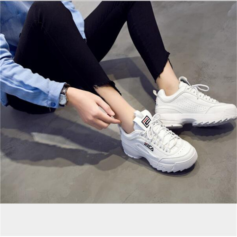 Women's Chunky Sneakers Vulcanize Shoes Lady Casual White Shoes Women Sneaker Leisure Thick Soled Shoes Flats Zapatos De Mujer