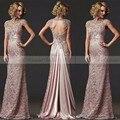 2017 Elegante Do Laço Da Sereia Mãe da Noiva Vestidos Aberto voltar Longo Partido Vestidos Vestido de Festa de Casamento Da Mãe Da Noiva vestido