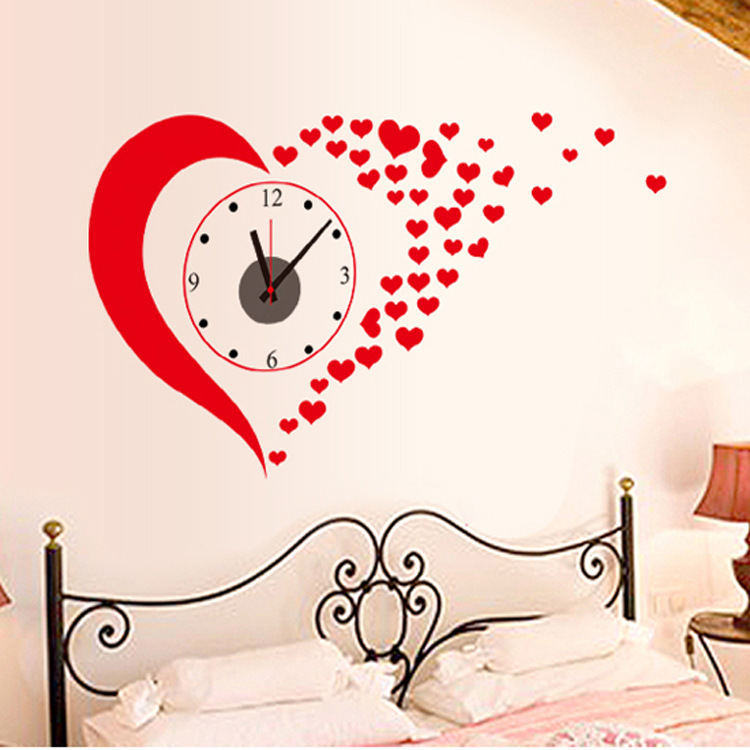 Diy Big Red Heart Wall Stickers Clock Home Decoration Living Room