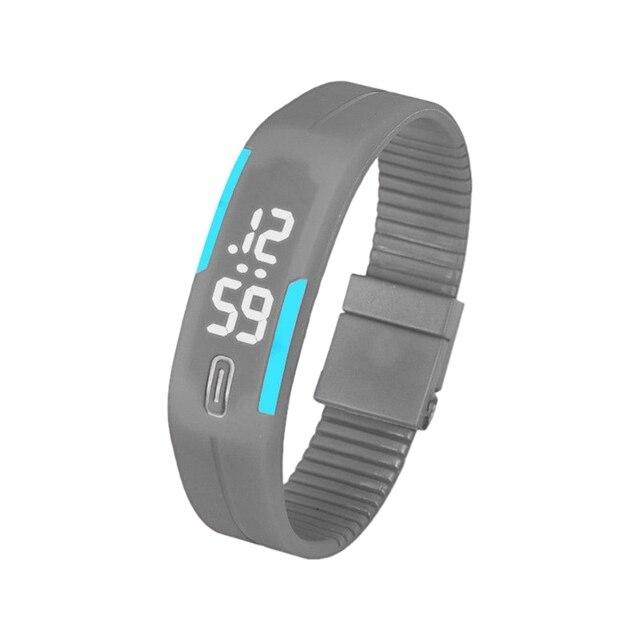 Sports Silicone Rubber White LED Digital Watch Bracelet Men Women Grey