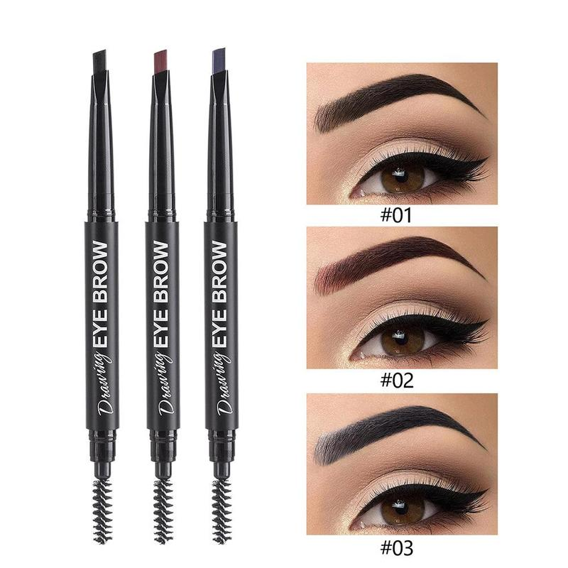 1pcs Double Ended Eyebrow Pencil No Blooming Rotatable Triangle Waterproof Long Lasting Eye Brow Tatoo Pen