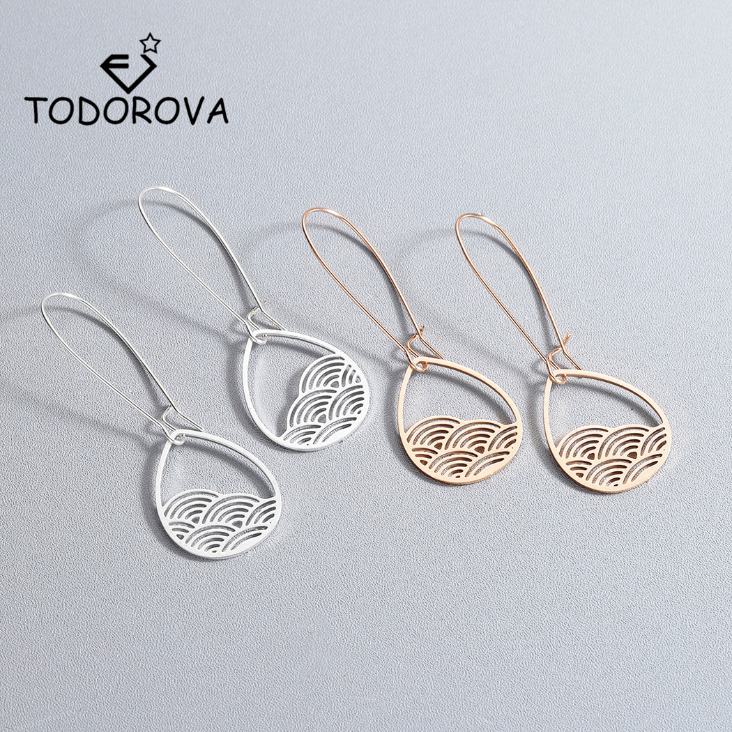 Todorova Vintage Boho Hollow Metal Teardrop Cloud Hanging Dangle Drop Earrings for Women Female Party Jewelry Accessories