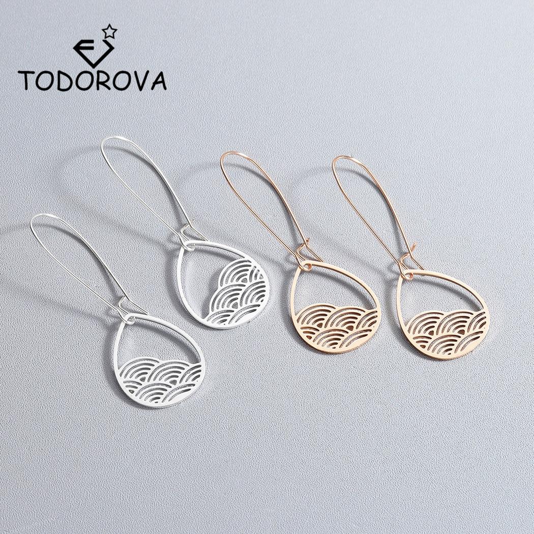 Todorova Vintage Boho Hollow Metal Teardrop Cloud Hanging Dangle Drop Earrings for Women Female Party Jewelry Accessories