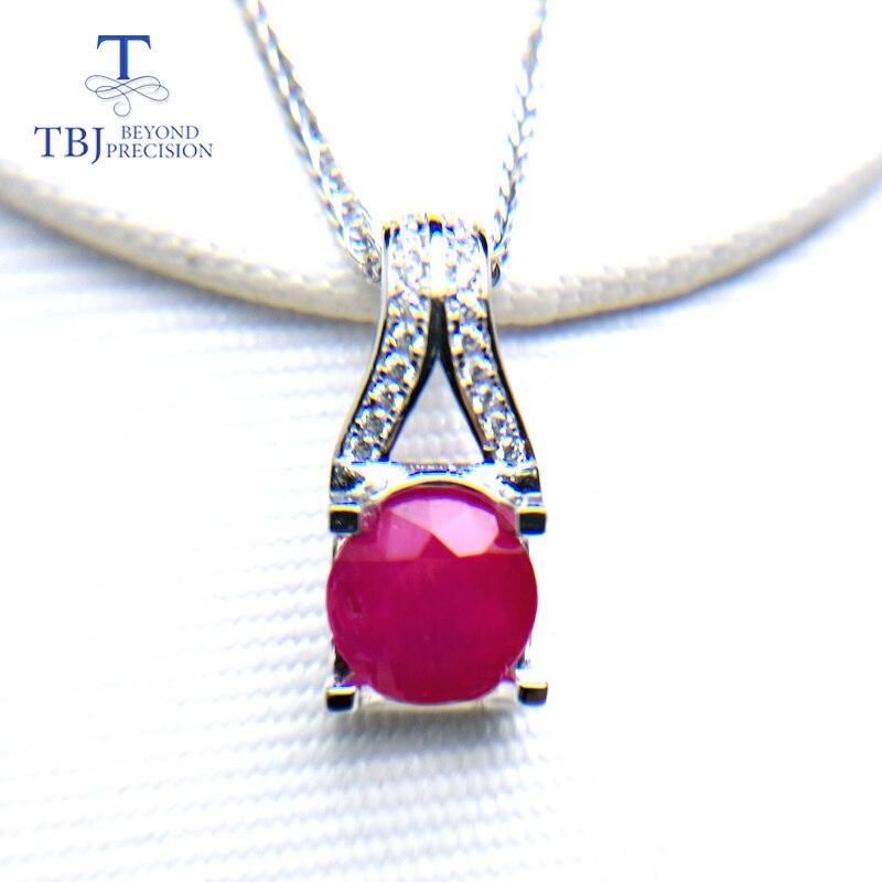 TBJ, naturel traitement Afrique Ruby Big round 2.3ct réel ruby pierre précieuse pendentif 925 sterling argent fin bijoux pour femmes