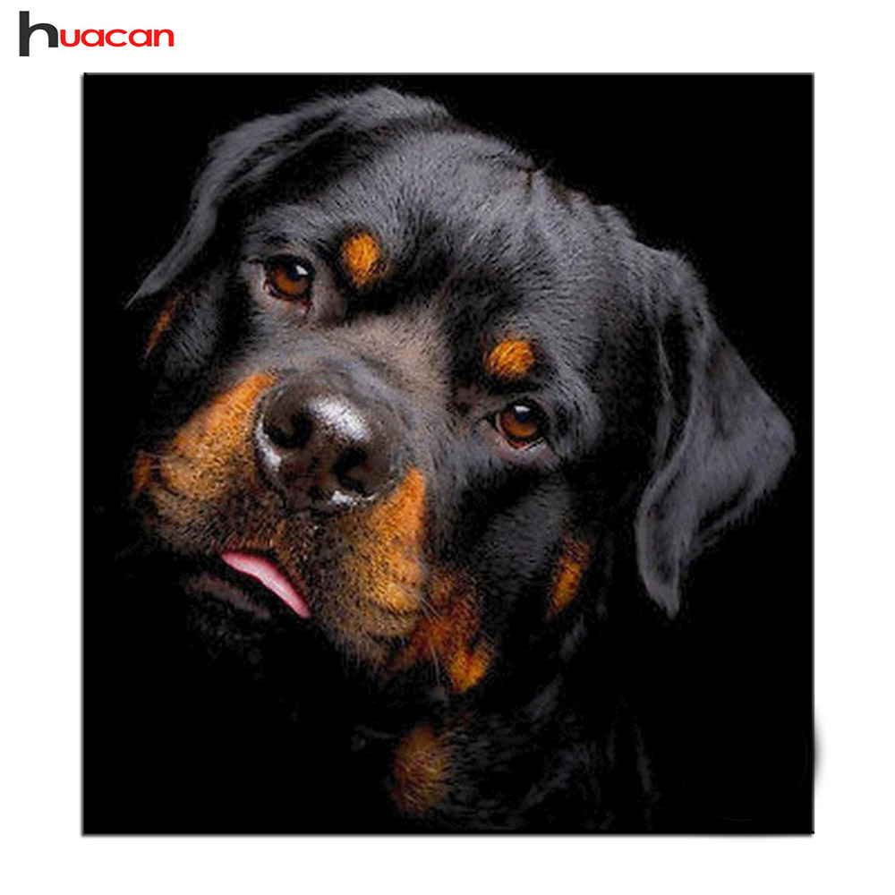 Diamond Painting Dog Full Square Diamond Embroidery Rottweiler ...