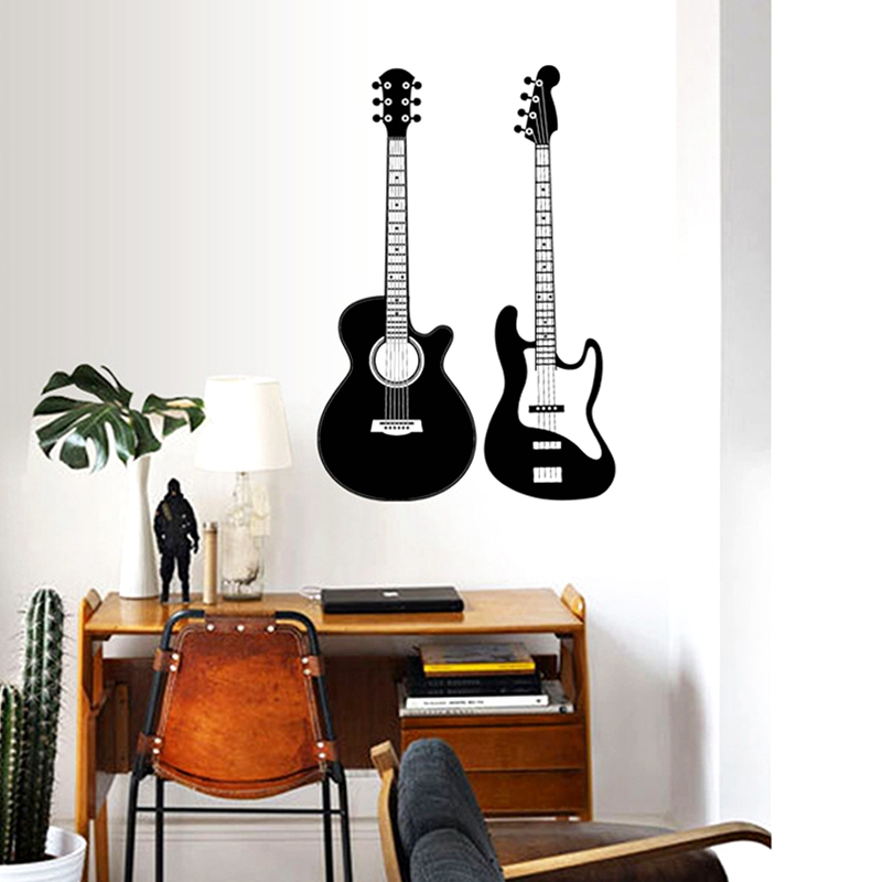 Guitar Modern fashion Decoration Wall Sticker PVC Musician Music Living Room Backdrop Wall Mural Waterproof Wallpaper Home Decor image