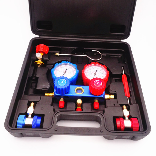 Klimatyzacja chłodnicza zestaw mierników z rurkami rozgałęźnymi narzędzia do konserwacji R134A zestaw samochodowy z futerał do przenoszenia AC diagnostyczne czynnika chłodniczego