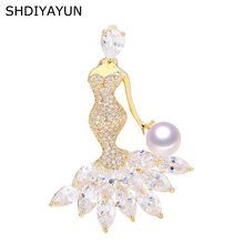 SHDIYAYUN 2019 Pearl Brooch For Women Beautiful Girl Brooches Pins Natural Freshwater Fine Jewelry Accessories Corsage
