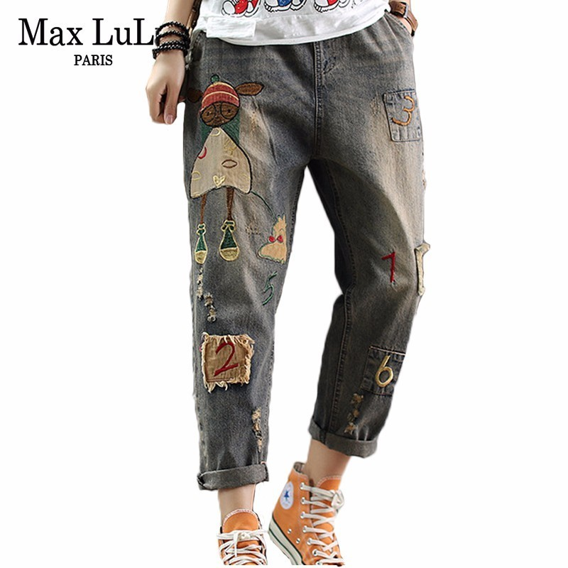 Max LuLu 2019 Summer Fashion Korean Style Ladies Straight Pants Women Vintage Elastic Jeans Punk Embroidery Blue Ripped Trousers
