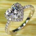 Виктория вик форма сердца белый топаз имитация алмаз 925 чистое серебро свадьба кольцо Sz 7 - 13 подарок