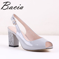 Bacia New Genuine Leather Shoes 8cm Fashion Heels Spring Summer Hand Made High Quality Full Grain