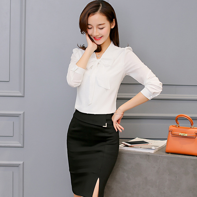 Harajuku New Spring Summer Blouse Women Long Sleeve Shirts Fashion Leisure Chiffon Shirt Bow Office Ladies Pink White Tops 5