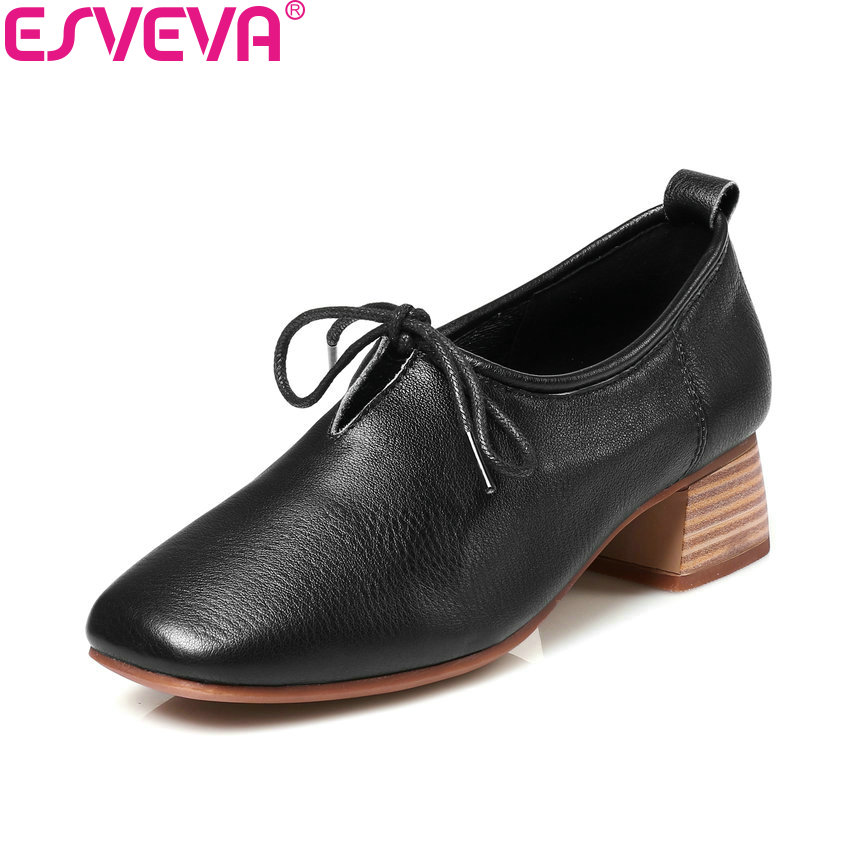 ESVEVA 2018 Women Pumps Lace Up Western Style Cow Leather PU Square Med Heels Square Toe Classic Ladies Pumps Shoes Size 34-39 esveva 2018 pointed toe western style women pumps cow leather pu square high heels lace up out door ladies shoes size 34 43