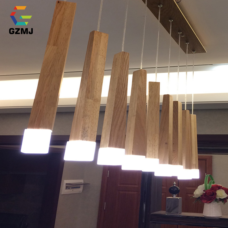 GZMJ Country Style Wood Pendant Lights LED Loft Decor Hanging Lamp for Foyer Living Room Hotel Cafe Restaurant Modern Wood LampGZMJ Country Style Wood Pendant Lights LED Loft Decor Hanging Lamp for Foyer Living Room Hotel Cafe Restaurant Modern Wood Lamp