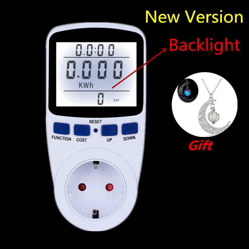 Digital Energy Meter Wattmetro con Retroilluminazione Elettronico Misuratore di Potenza Record di Volt di Tensione Presa Energy Meter Analyzer