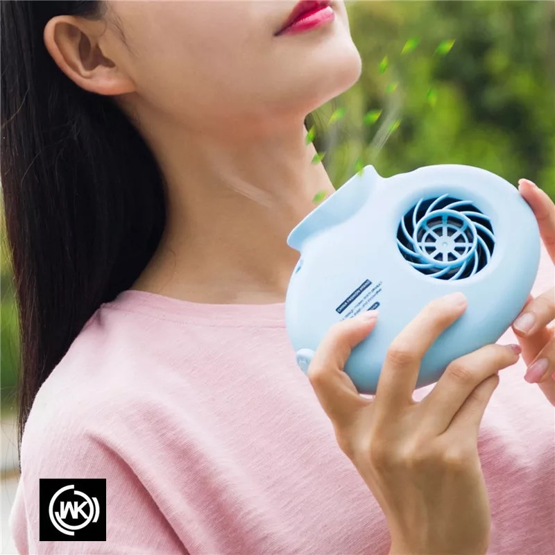 2018 Portable Neck Fan With Lanyard Cooling Mini Fan With 2 Speeds Strong Wind Powered By for Travel/ Walking/ Outdoors Fan 2 in 1 usb powered flexible neck led white light 2 blade cooling fan