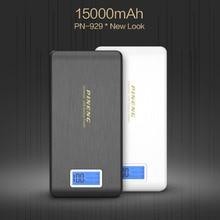 100% Первоначально PINENG Мобильный Банк Питания PN-952 15000 мАч Dual USB ЖК-Фонарик Powerbank Внешний Телефонов Зарядное Устройство