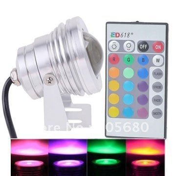 10W 12V RGB Waterproof IP65 LED Flood Light outdoor Underwater Lamp Floodlight Convex Glass white body 20pcs/lot