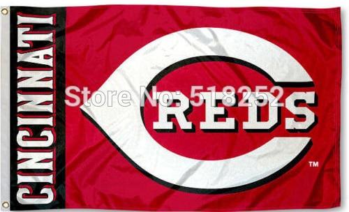 Cincinnati Reds Flag 3x5 FT 150X90CM Banner 100D Polyester flag brass grommets 033, free shipping