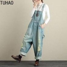 TUHAO весенне-летний Повседневный джинсовый комбинезон полной длины, винтажные Свободные Комбинезоны с дырками и винтажным принтом, 2 цвета, женские комбинезоны