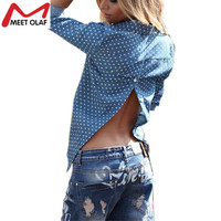 Women Spring Long Sleeve Blouse Sexy Open Back Backless Vintage Tops Blue Dot Shirts Turn Down