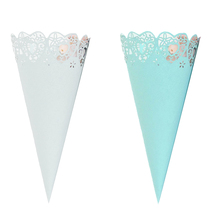 50pcs Cones Lace Paper Confetti Cake Decoration Candy Holder For Wedding Celebration Birthday Party Holiday Party New Arrivals