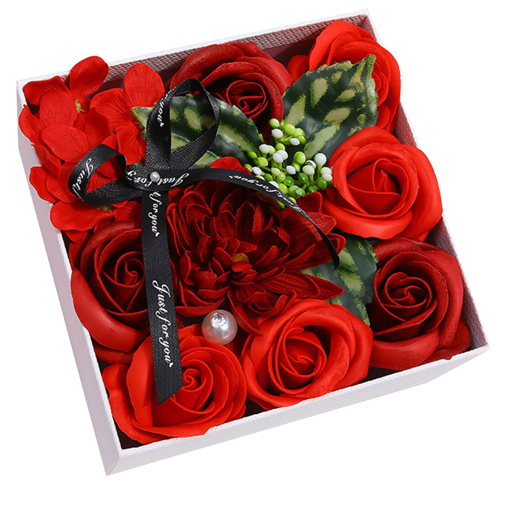 Мягкие искусственные лепестки мыло цветок украшение дома праздник креативная Подарочная коробка Роза Гвоздика декоративные гортензии цветок - Цвет: red