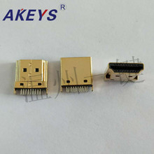 11 PCS HDMI socket A type Public head splint 1.6 copper Gold HD TV Socket Interface 2 row pin 19 stitches