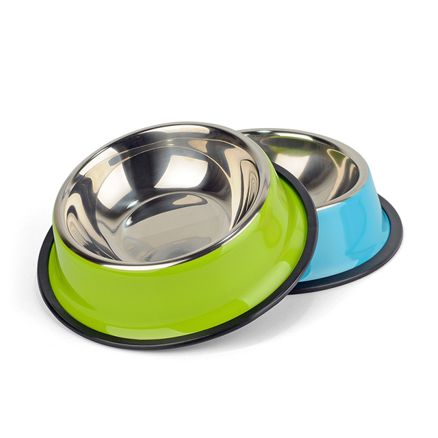 3 Colors Stainless Steel Dog Bowls,Lovely Pet Food Water Drink Dishes Feeder For Cat Puppy Dog S/M/L