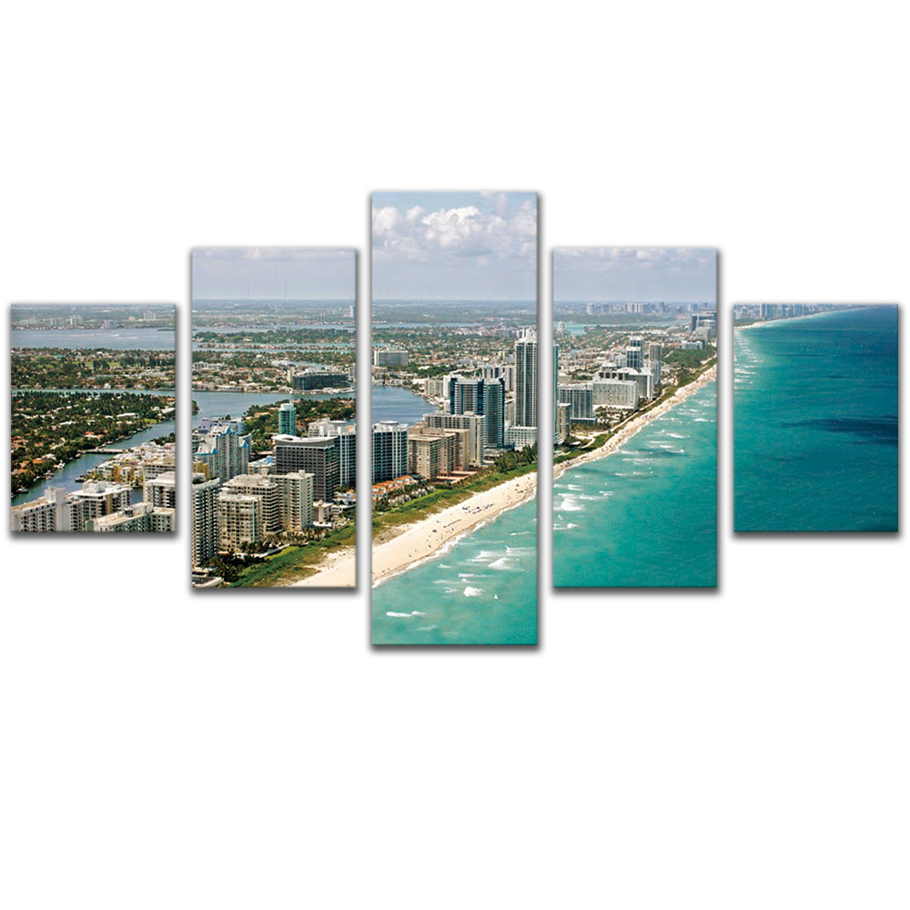 Unframed Canvas Painting Seaside City Building Bay Photo Picture Prints Wall Picture For Living Room Wall Art Decoration