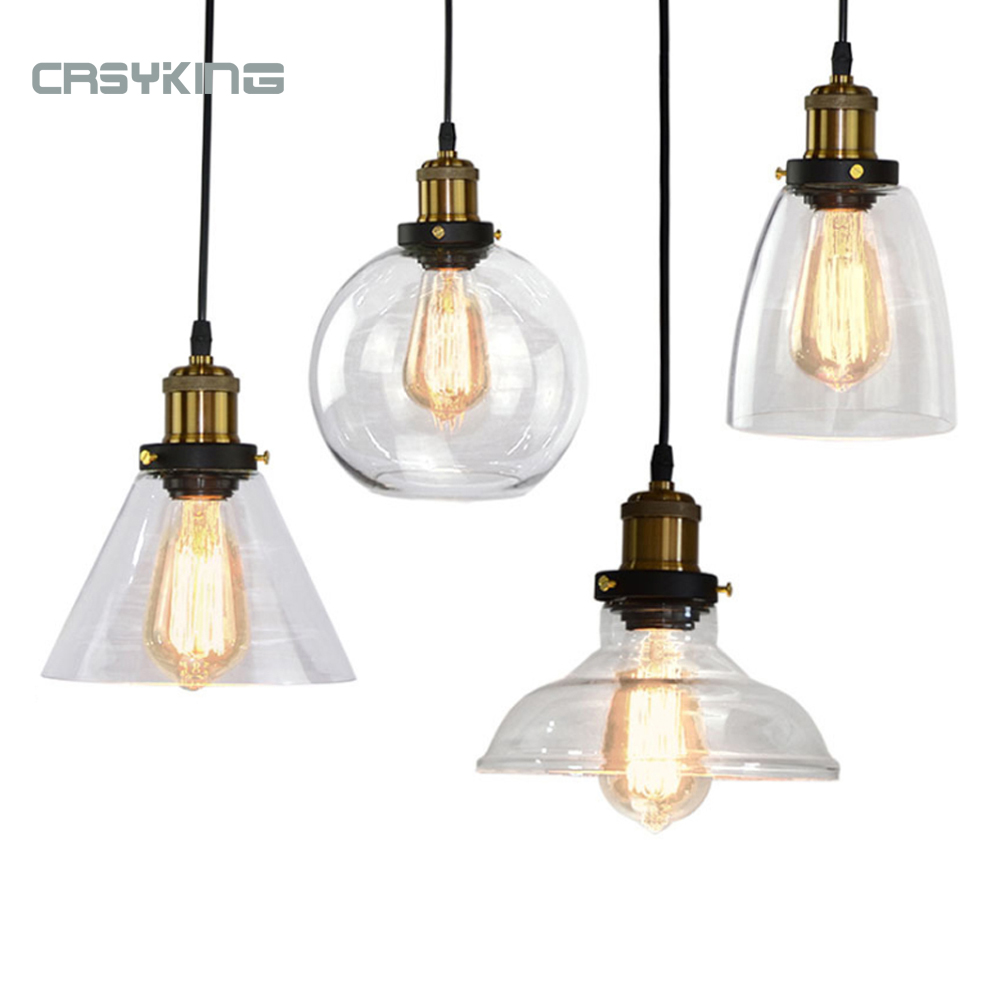 Vintage Pendant Lights Dining Glass Hanging Lamp Russia Loft Luminaire Modern Bedroom Pendant Lamp With Clear Gray Amber Colour
