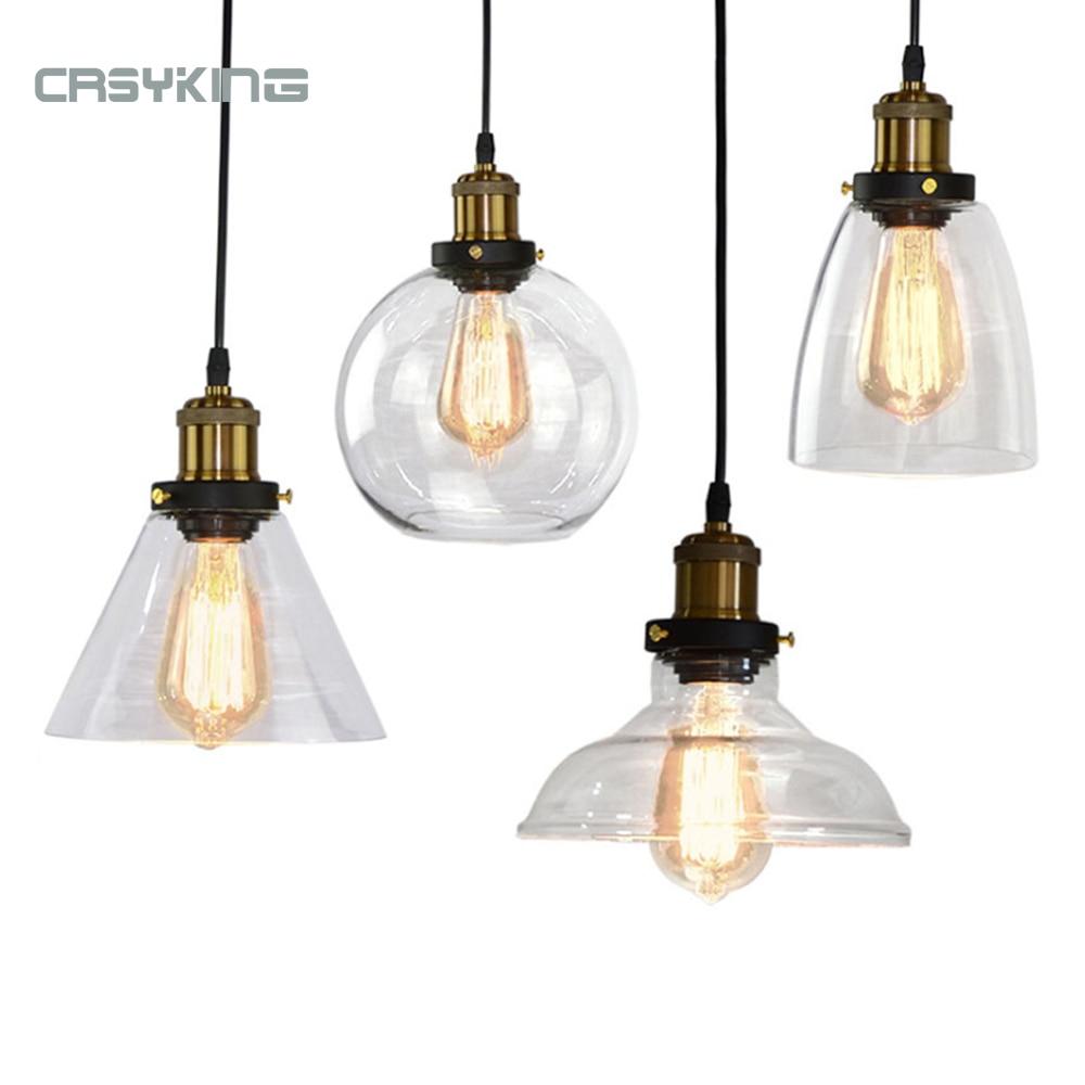 Vintage suspension lumières rétro verre suspension lampe russie Loft Luminaire moderne cuisine salle à manger chambre suspension lampe E27 douille