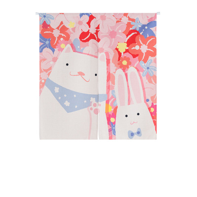 Children room divider kitchen door curtain cartoon cat and rabbit window treatment rod pocket printed Japanese decoration