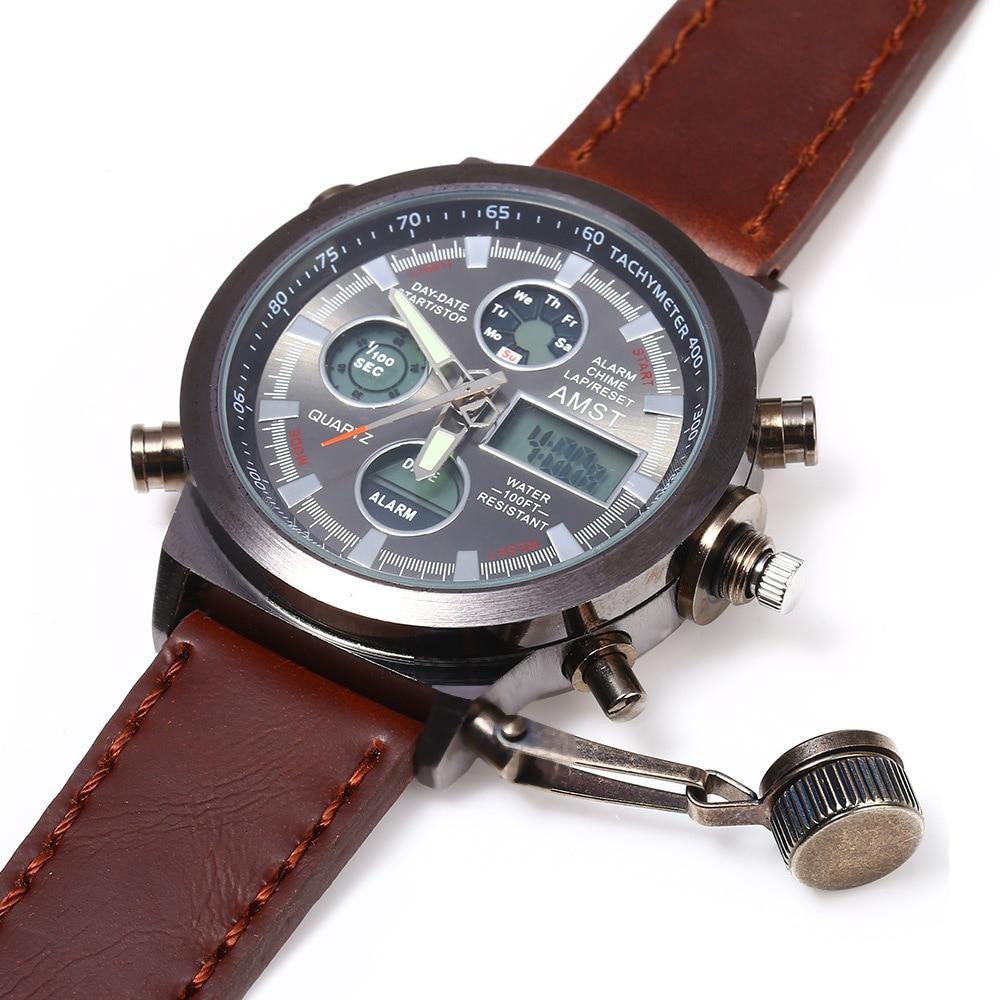 Watches Men 2016 Fashion Military Sports Quartz Watch Diver Waterproof Leather Watchband Army Digital-Watch Relogio Masculino