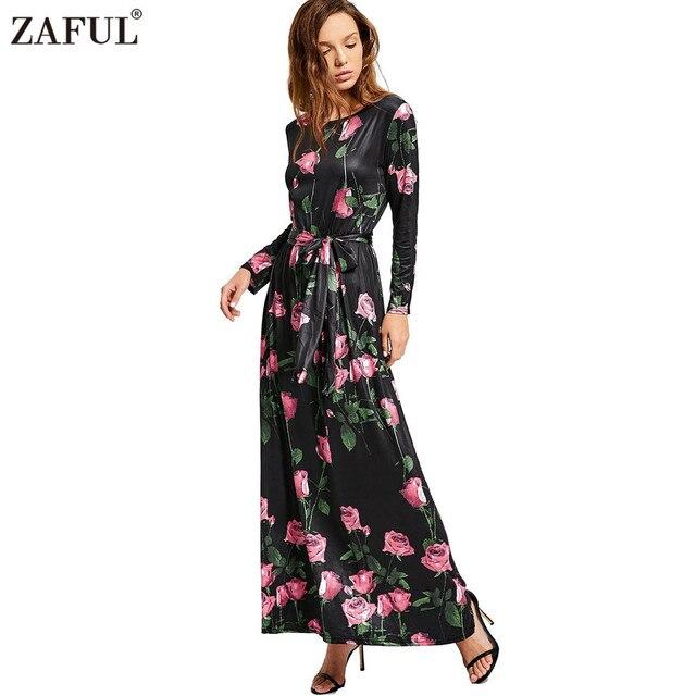 f3b6156308f ZAFUL Plus Size 3XL autumn women long dress vintage robe floral print long  sleeve blted maxi dress feminino Vestidos black