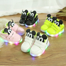 2018 Patch cartoon funny design glowing baby sneakers fur plush warm winter boots high quality hot sales girls boys shoes