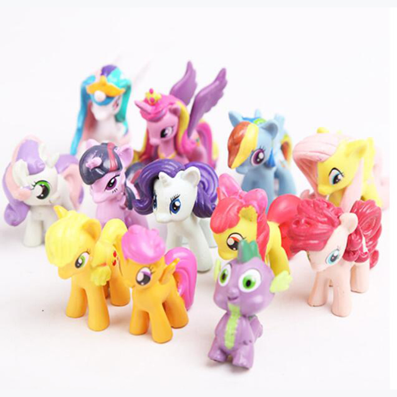 ФОТО 12/pcs plastic horses cute patroled pvc unicorn toys for birthday christmas doll gifthorse toy doll brithday gift for childwj431