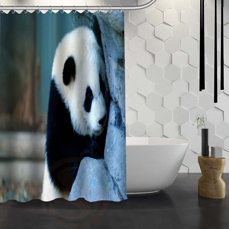 Nanaz Hot Sale Custom Panda Shower Curtain Waterproof Fabric Bath For Bathroom
