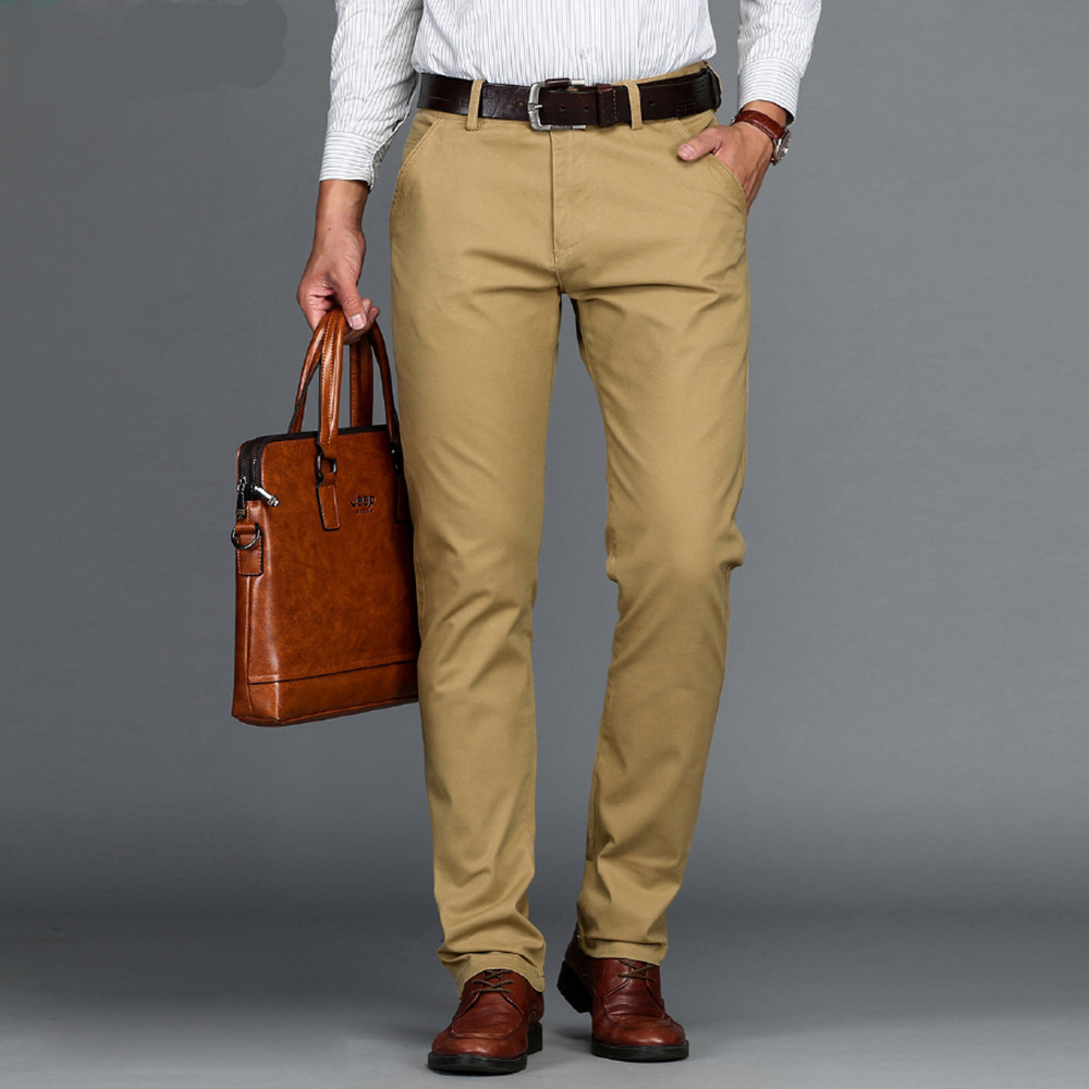 New Arrival Mens Casual Business Pant Stretch trousers regular Straight Pant Black Blue Khaki Big Size 42 44 46 worksuit