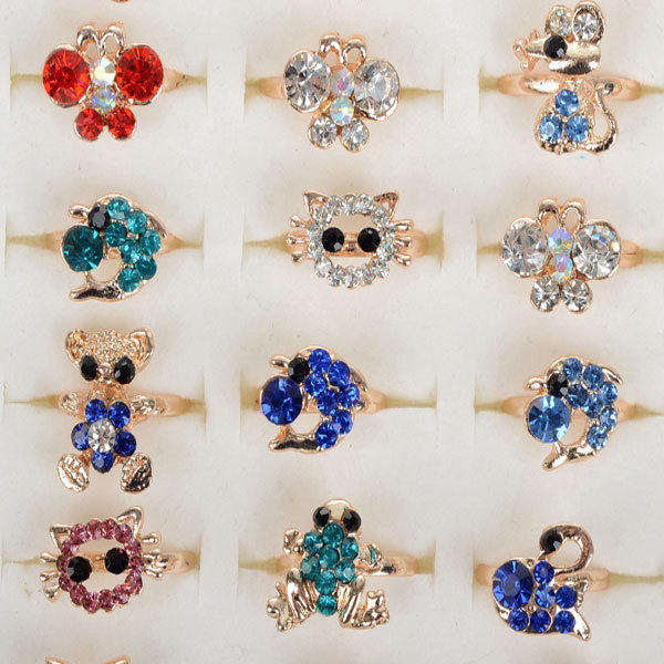 line Shop Wholesale Mix Lot 10pcs Cartoon Crystal Rings for Kids